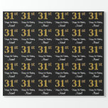 [ Thumbnail: 31st Birthday: Elegant Luxurious Faux Gold Look # Wrapping Paper ]
