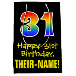 "[ Thumbnail: 31st Birthday: Fun, Bold, Colorful, Rainbow ""31"" Gift Bag ]"