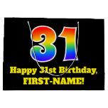 [ Thumbnail: 31st Birthday ~ Fun, Colorful, Vibrant, Rainbow 31 Gift Bag ]