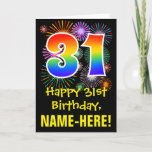 [ Thumbnail: 31st Birthday: Fun Fireworks Pattern + Rainbow 31 Card ]