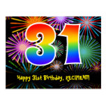 [ Thumbnail: 31st Birthday – Fun Fireworks Pattern + Rainbow 31 Postcard ]