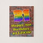 [ Thumbnail: 31st Birthday: Fun Graffiti-Inspired Rainbow 31 Jigsaw Puzzle ]