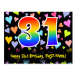 [ Thumbnail: 31st Birthday: Fun Hearts Pattern, Rainbow 31 Postcard ]