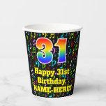[ Thumbnail: 31st Birthday: Fun Music Notes Pattern, Rainbow 31 ]