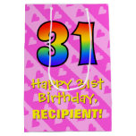 [ Thumbnail: 31st Birthday: Fun Pink Hearts Stripes; Rainbow 31 Gift Bag ]