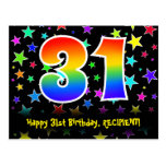 [ Thumbnail: 31st Birthday: Fun Stars Pattern, Rainbow 31, Name Postcard ]