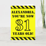 [ Thumbnail: 31st Birthday: Fun Stencil Style Text, Custom Name Card ]