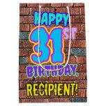 [ Thumbnail: 31st Birthday: Fun, Urban Graffiti Inspired Look Gift Bag ]