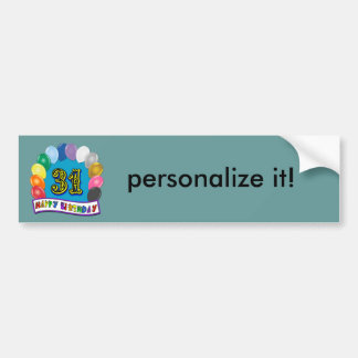 31st Birthday Gifts with Assorted Balloons Design Bumper Sticker