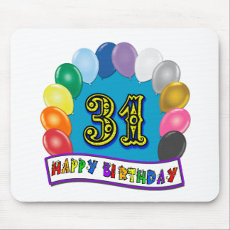 31st Birthday Gifts with Assorted Balloons Design Mouse Pad