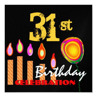 31st Birthday Gold Candles and Balloon Metallic Card