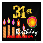 """31st Birthday Gold Candles and Balloon Metallic 5.25"""" Square Invitation Card"""