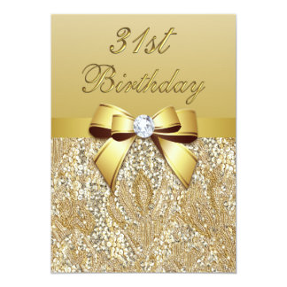31st Birthday Gold Faux Sequins and Bow Card