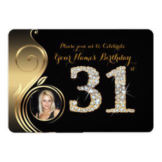 31st,Birthday Invitation,Number Diamond,Photo 2 Card