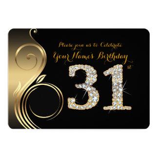 31st,Birthday Invitation,Number Diamond,Photo Card