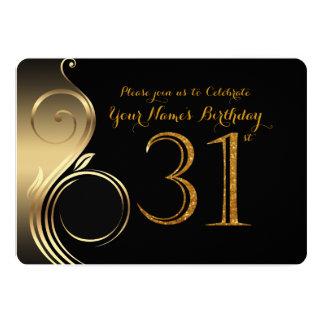 31st,Birthday Invitation,Number Glitter Gold,Photo Card