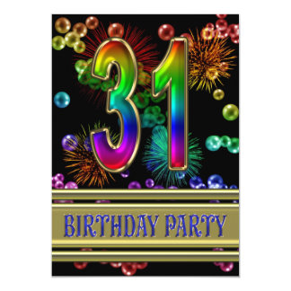 31st Birthday party Invitation with bubbles