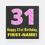 "[ Thumbnail: 31st Birthday: Pink Stripes and Hearts ""31"" + Name Napkins ]"