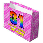 [ Thumbnail: 31st Birthday: Pink Stripes & Hearts, Rainbow # 31 Gift Bag ]