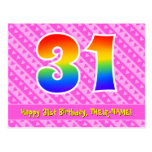 [ Thumbnail: 31st Birthday: Pink Stripes & Hearts, Rainbow 31 Postcard ]