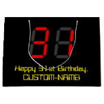 "[ Thumbnail: 31st Birthday: Red Digital Clock Style ""31"" + Name Gift Bag ]"