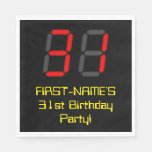 "[ Thumbnail: 31st Birthday: Red Digital Clock Style ""31"" + Name Napkins ]"