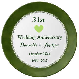 Wedding Gift 31 Years : 31st Wedding Anniversary Green Cloud Pattern W31A Porcelain Plate
