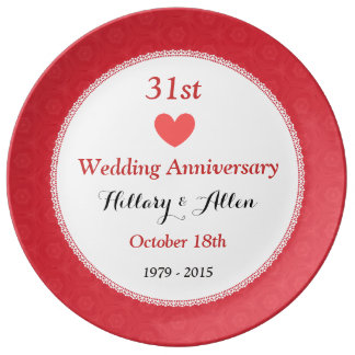 31st Wedding Anniversary Gift For Husband : 31st Wedding Anniversary RED Pattern A36B Plate