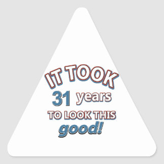 31st year birthday designs triangle sticker