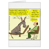 321 donkey genius smart a$$ color cartoon card