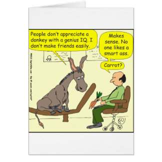 321 donkey genius smart a$$ color cartoon card