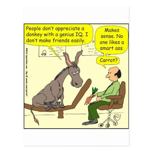 321 donkey genius smart a$$ color cartoon postcards