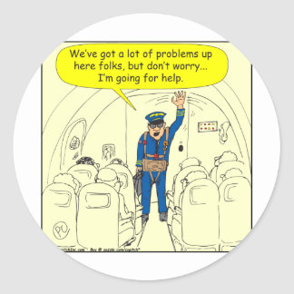 324 Airline pilot going for help color cartoon Classic Round Sticker