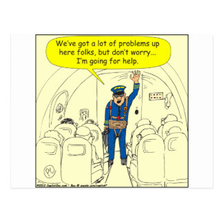 324 Airline pilot going for help color cartoon Postcard