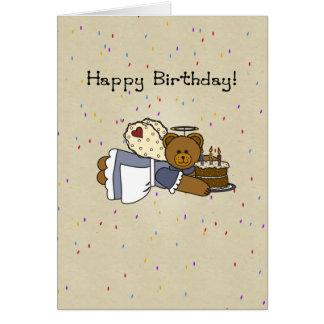 3273 Angel Birthday Bear Cake Card