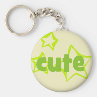 327 CUTE GREEN STARS COMPLIMENTS SAYINGS EXPRESSIO BASIC ROUND BUTTON KEYCHAIN