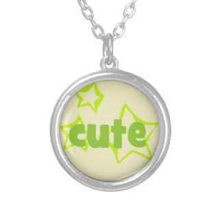 327 CUTE GREEN STARS COMPLIMENTS SAYINGS EXPRESSIO ROUND PENDANT NECKLACE