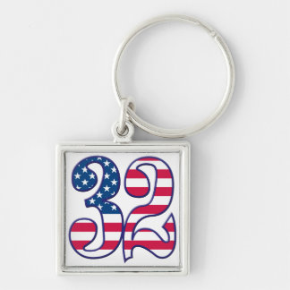 32 Age USA Silver-Colored Square Keychain