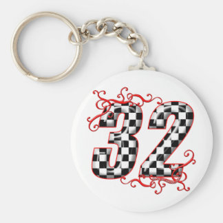 32 auto racing number keychain