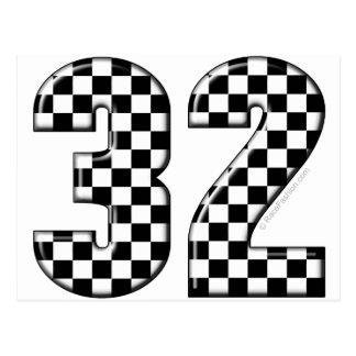 32 auto racing number postcard