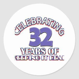 32 birthday design classic round sticker