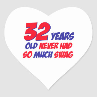 32  birthday design heart sticker