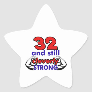 32 Birthday Design Star Sticker