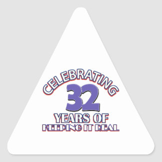 32 birthday design triangle sticker