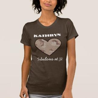 32 Birthday Fabulous Camouflage Heart V04 T-Shirt