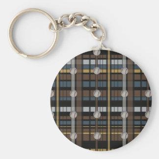 32 Brown Black Gray Plaid Baseball Design Keychain