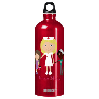 32 oz Cute Cartoon Nurse & Children Personalized Water Bottle