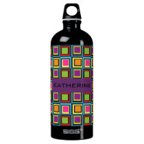 32 oz Groovy Colorful Squares Retro Pattern Water Bottle