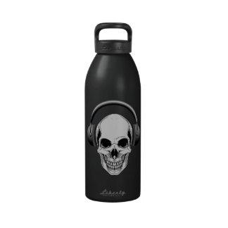 32 oz  Skull with Headphones Reusable Water Bottle