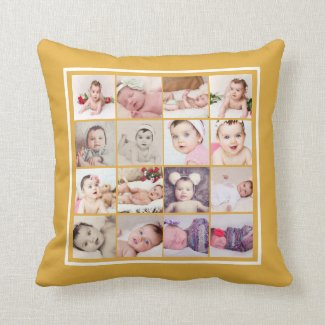 32 Photo Collage Unique Personalized Throw Pillow